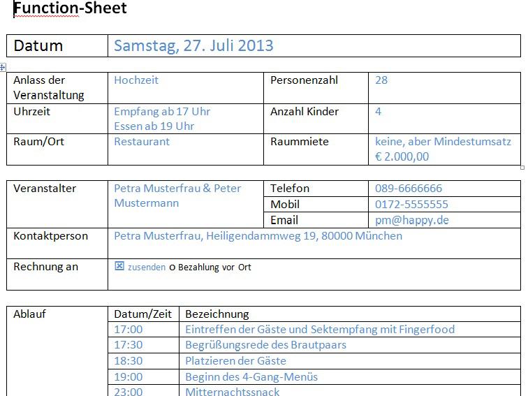 Functionsheet und Bankett-Laufzettel