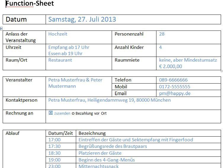Function Sheet Ablaufplan Bankett Laufzettel Im Gastgewerbe